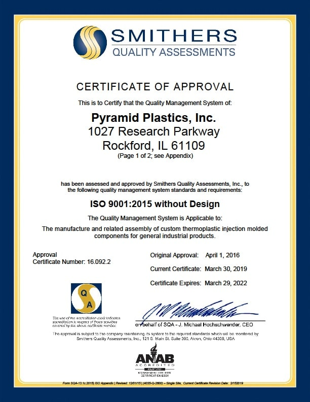 ISO 9001 : 2015 Certification - Page 1